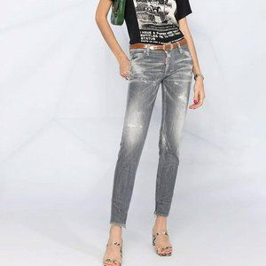 DSquared2 Brothers Grey Button Fly Skinny Jeans